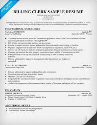 Medical Billing Resume Template Best Billing Clerk Resume Sample Resume Samples Across All Industries