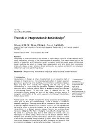 What Is Basic Design Of The Study Pdf The Role Of Interpretation In Basic Design