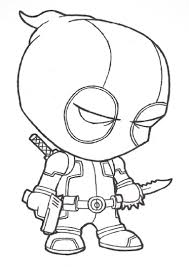 Small Picture Coloring Page Of Deadpool Cartoon Deadpool Coloring Page Free