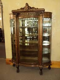 glass cabinet furniture. FABULOUS Oak Curved Glass Curio/China Cabinet, Circa 1900, Cabinet Furniture