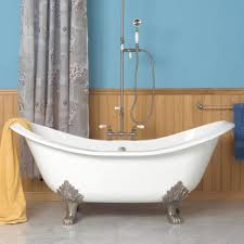 ... Exquisite Bathroom Interior Decoration With Painting Clawfoot Tub  Design : Cool Chrome Faucet And Hand Shower