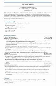 Sample Construction Carpenter Resume Sample Resumes - Fast.lunchrock.co