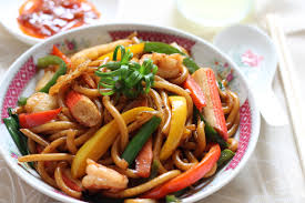 Stir fried udon noodles with seafood ...