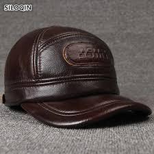 <b>SILOQIN Men's Winter</b> Leather Hat Warm <b>Genuine</b> Leather Baseball ...
