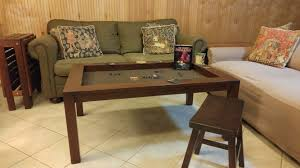 Coffee Game Table in Cherry finish and Dark Brown Fabric with Side Table/Bench  in