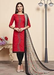 Cotton Churidar Dress Design Patterns Daily Wear Red Jacqaurd Cotton Embroidery Work Churidar Suit