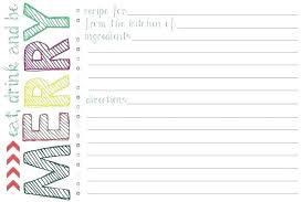 Recipe Paper Template Free Printable Recipe Cards Salary