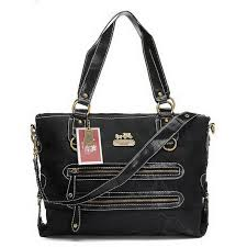 Popular Coach Double Zip Logo Medium Black Totes Ehl Online cSCcq