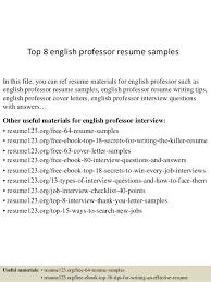 Professor Resume Beauteous Top 40 English Professor Resume Samples