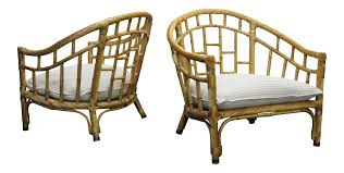 bamboo rattan chairs. Pair Of Oversized Barrel Back Bamboo \u0026 Rattan Chairs By Ficks Reed | Chairish