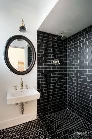 images bathroom tile pinterest modern modern bathroom black subway tile brass fixtures white wall mounted sink accessoriesexquisite black white tile bathroom