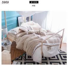 korean princess bedding sets gray cotton ruffles quilt duvet comforter cover bowknot bed cover king queen size 4pcs bed set 5967