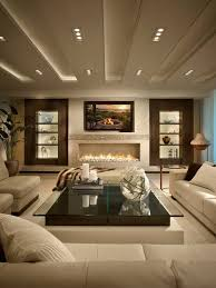 amazing living room. Amazing Living Room In Beige With Beautiful Wall Decor, Fire Pit \u0026 Glass Top Table