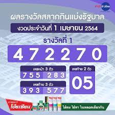 ผลรางวัลสลากกินแบ่งรัฐบาล งวดวันที่ 1 เมษายน 2564 - สำนักข่าวไทย อสมท