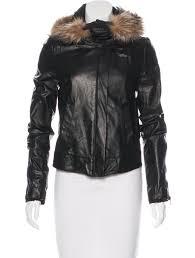 leather fur trimmed jacket
