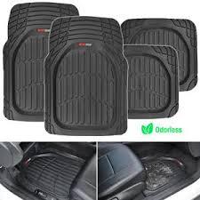 Deep Dish Heavy Duty Rubber Car Floor Mats 4pc Front Rear in Black
