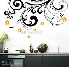 kitchen wall decor stickers wonderful black flower kitchen wall art stickers home design within