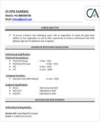 Accountant Fresher Resume Template. Chartered Accountant Resume