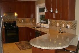 glass tile backsplash in wood accent kitchen