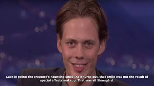 mtv news bill skarsgård s pennywise smile is 100 percent creepier without clown makeup