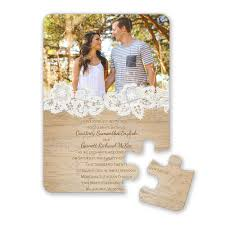Wedding Invitation With Photo Wood And Lace Puzzle Invitation Invitations By Dawn