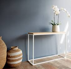 white metal furniture. Teak Console With White Metal Base-Nomad Home-Originals Furniture - 2