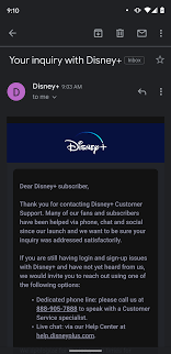 Has anyone gotten this inquiry email? I didn't contact them. Is this spam?  : DisneyPlus