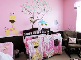 pink nursery furniture. Baby Bedroom Inspiring Of Pink Wall Decor Also Wooden Brown Furniture Sets With Animals Themes Nursery G