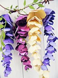 Pearl S Crafts Paper Flower Templates Hanging Paper Wisteria Tutorial Templates Catching