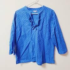 Talbots Dress Size Chart Talbots Long Sleeve Blue V Neck Blouse Size L Talbots