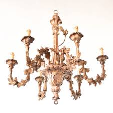 carved wood and iron chandelier from italy