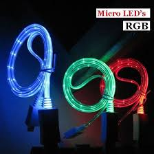 picture of rgb led color light data sync charger round usb cable for iphone 7 6