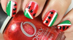 Simple Abstract Water Melon Nail Art - YouTube