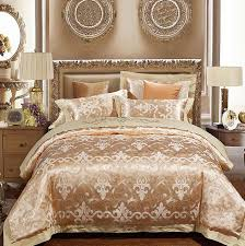 luxury gold bedding sets duvet cover set jacquard bedspreads satin sheets european wedding bed in a bag linen king queen size black and white bedspread blue