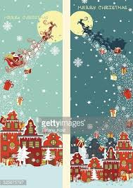 Christmas Vertical Banner Claus Coming To City Stock Vectors