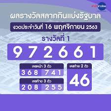 ผลรางวัลสลากกินแบ่งรัฐบาล งวดวันที่ 16 พฤศจิกายน 2563 - สำนักข่าวไทย อสมท
