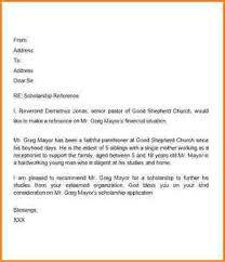 re mendation letter scholarship sample letter of re mendation for scholarship from pastor