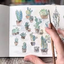 Vẽ cực thích với ngòi bút mềm mại từ dụng cụ đi line | Nghệ thuật, Kỹ thuật màu  nước, Mỹ thuật