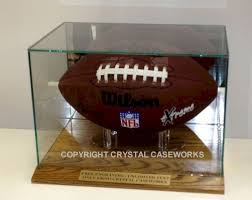 football rectangle glass display case wood base