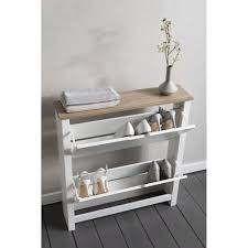 Slim Shoe Cabinet Tromso Shoe Storage Unit In White And Natural Noa Nani