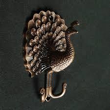 Coat Rack Hooks Hardware Peacock Decorative Wall Hook Metal Wall Hooks Antique Brass 84