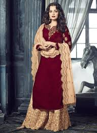 Pink Velvet Suit Design Red And Light Pink Embroidered Velvet Palazzo Suit Indian