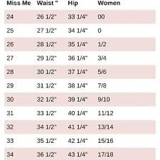 Kids Miss Me Jeans Size Chart Jeans Sizing Conversion Online Charts Collection