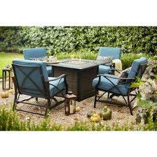 river crossing 5 piece aluminum and steel patio gas fire pit conversation set with sky