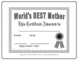 Best Mother Certificate Mothers Day Coloring Pages