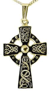 mens black rhodium 14k yellow gold coated silver warrior irish celtic cross pendant necklace