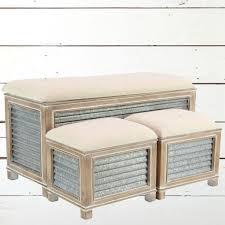 metal storage bench. Modren Metal Corrugated Metal And Wood Fabric Top Storage Bench On