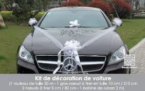 kit décoration voiture mariage blanc