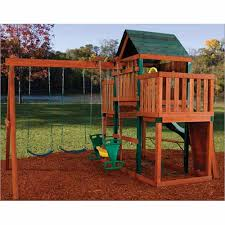 wooden swing set kit swing n slide winchester swing set back view