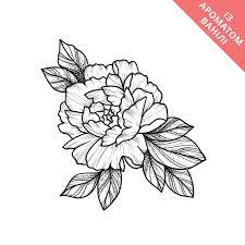 Temporary Tattoo Monochrome Flower Black And White